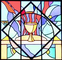 stained glass window (© Suncreek UMC) depicting bread and chalice